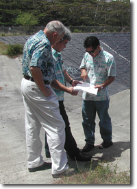 Staff conducting drought assessment at the Waimanalo Research Station, Oahu, Hawaii.