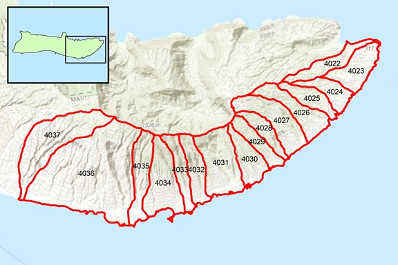 'Ualapu'e Region Surface Water Hydrologic Units