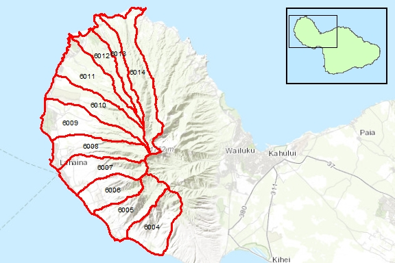 Lahaina Region Surface Water Hydrologic Units