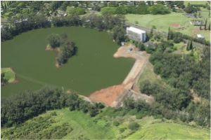 Aerial view of Wahiawa Reservoir, with the spillway at center
