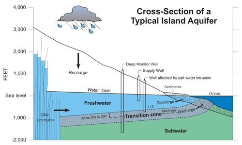 Cross Section of a Typical Island Aquifer
