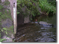 A Staff Gauge is used to measure water level.