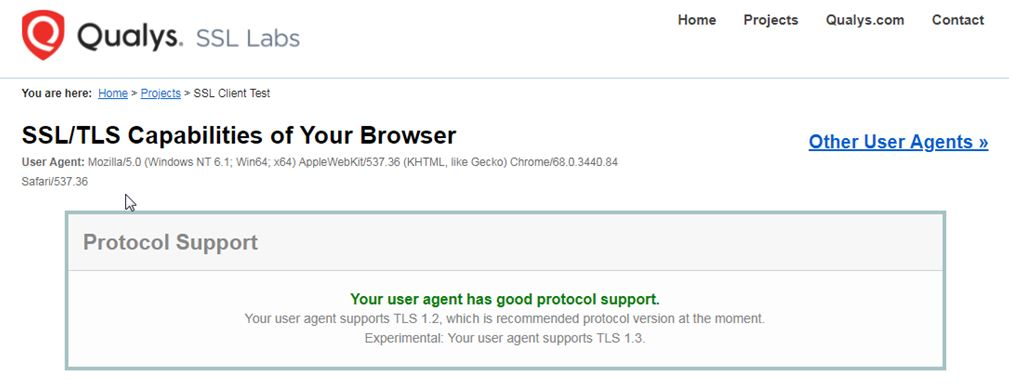 yes your browser supports tls 1.2