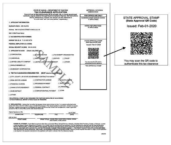 Sample Tax Clearance with QR code