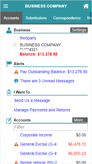 Hawaii Tax Online screenshot showing a mobile optimized view with the Accounts tab selected.