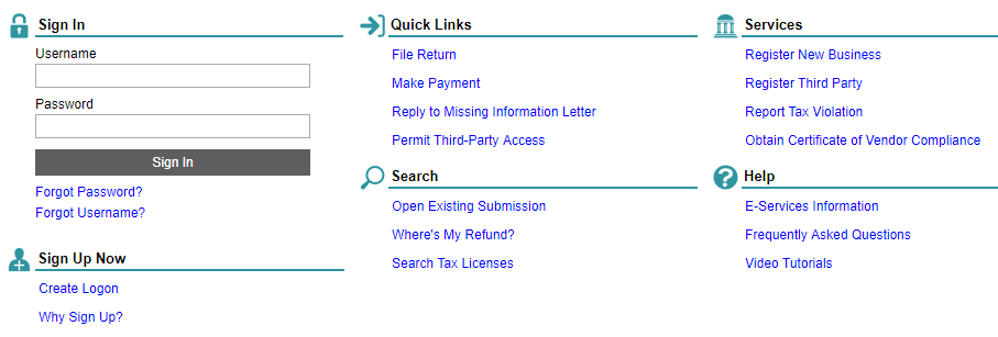 Hawaii Tax Online homepage screenshot showing Sign In, Sign Up Now, Quick Links, Search, Services, and Help sections.