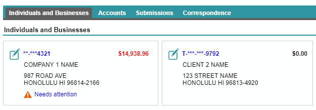 Hawaii Tax Online screenshot showing Company 1 and Company 2 summary cards organized under an Individuals and Businesses heading.