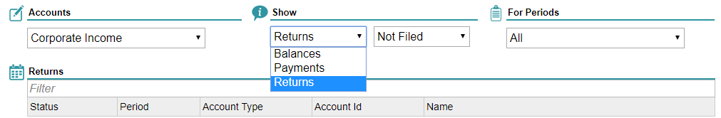 Hawaii Tax Online screenshot showing drop down filters for Corporate Income accounts, returns, and all periods.
